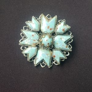 Vintage Reconstituted Turquoise Brooch